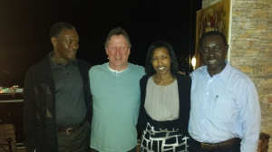 Dinner in Hotel Mille Collines, (Hotel Rwanda) withFelicien, Christien and John Bosco. They were refugees in this hotel in the height of the genocide.